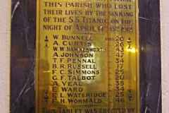 The monument to parishioners lost in the Titanic disaster.